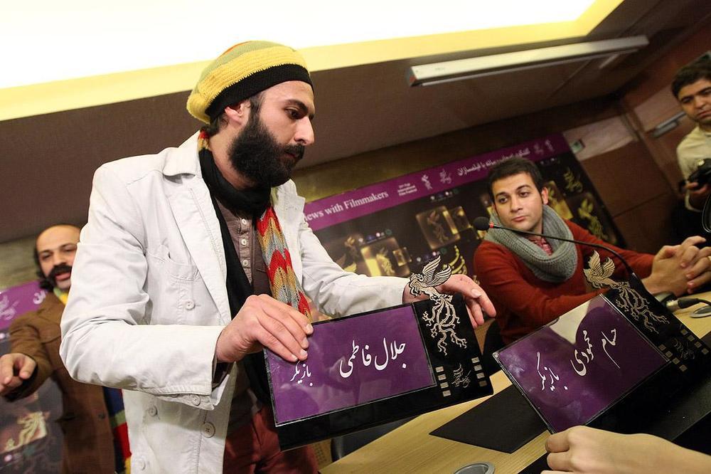 حسام محمودی و فرزاد باقری در نشست خبری فیلم «خسته نباشید!»