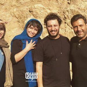 شبنم قلی خانی، مجید واشقانی، جواد عزتی و مه لقا باقری در پشت صحنه فیلم «بزرگراه»