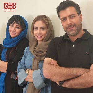 شبنم قلی خانی، مجید واشقانی و مه لقا باقری در پشت صحنه فیلم «بزرگراه»