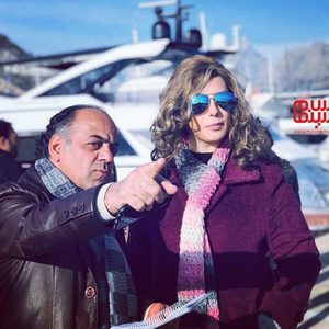 ناره گریگوریان و جواد افشار در پشت صحنه سریال «گاندو»