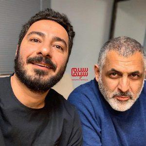 مانی حقیقی و نوید محمدزاده در پشت صحنه فیلم «تفریق»