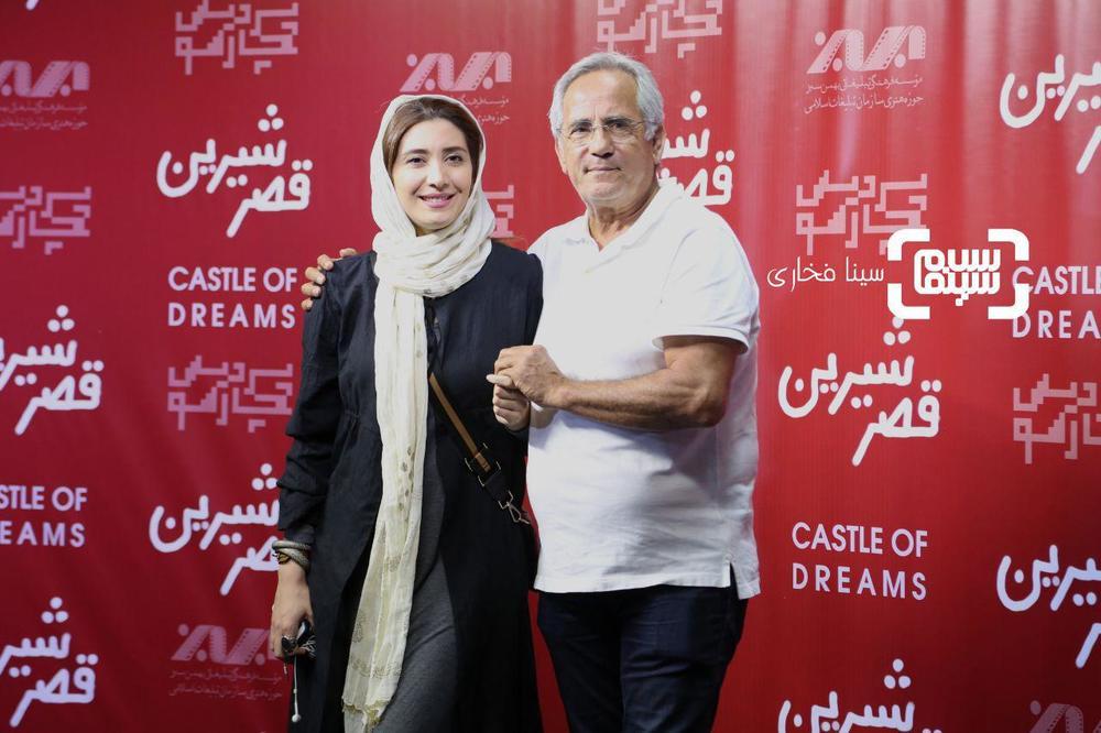 مجید مظفری و دخترش نیکی مظفری در اکران خصوصی فیلم سینمایی «قصر شیرین»