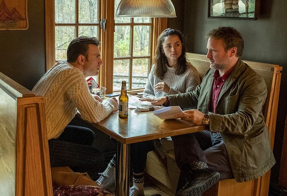 آنا دِ آرماس، ریان جانسون و کریس ایوانس در پشت صحنه  فیلم سینمایی «چاقوکشی» (Knives Out)