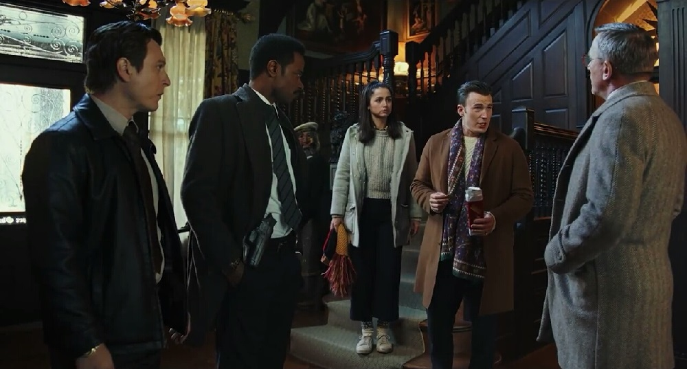 دنیل کریگ، کریس ایوانس، آنا دِ آرماس و  لاکیت استنفیلد در فیلم سینمایی «چاقوکشی» (Knives Out)