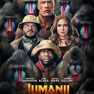 دواین جانسون، کوین هارت، جک بلک و کارن گیلان در پوستر فیلم سینمایی «جومانجی2: مرحله بعد» (Jumanji: The Next Level)