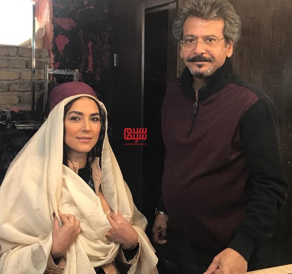 هدی زین العابدین و مجید اسکندری در پشت صحنه فیلم «سمفونی نهم»