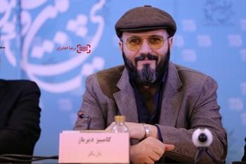 کامبیز دیرباز در نشست خبری «ماه گرفتگی» در سی و پنجمین جشنواره فیلم فجر