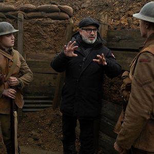 دین چارلز چپمن و سم مندز در پشت صحنه فیلم «1917»