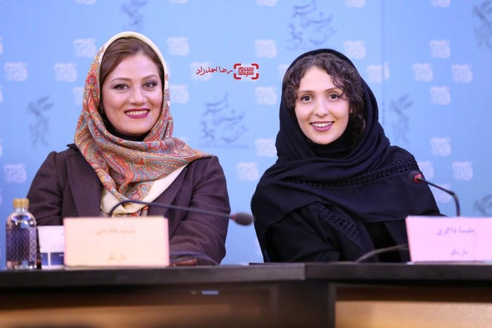 شبنم مقدمی و ملیسا ذاکری در نشست خبری فیلم «آباجان» در سی و پنجمین جشنواره فیلم فجر