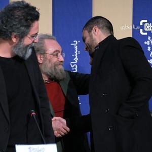 امیر جدیدی، مسعود فراستی و سعید ملکان در نشست خبری فیلم «روز صفر» در جشنواره فیلم فجر 38