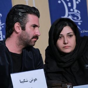 هوتن شکیبا و باران کوثری در نشست خبری فیلم «عامه پسند» در جشنواره فیلم فجر 38