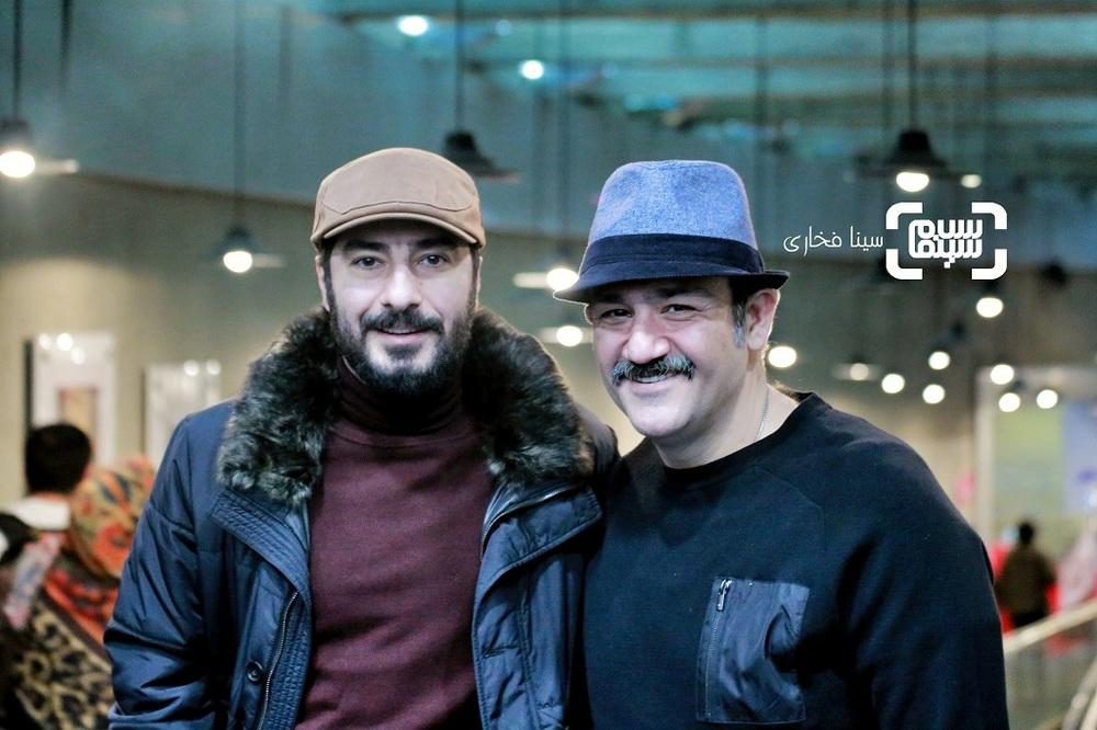نوید محمدزاده و مهران غفوریان در اکران فیلم «عنکبوت» در سینمای رسانه جشنواره فیلم فجر 38