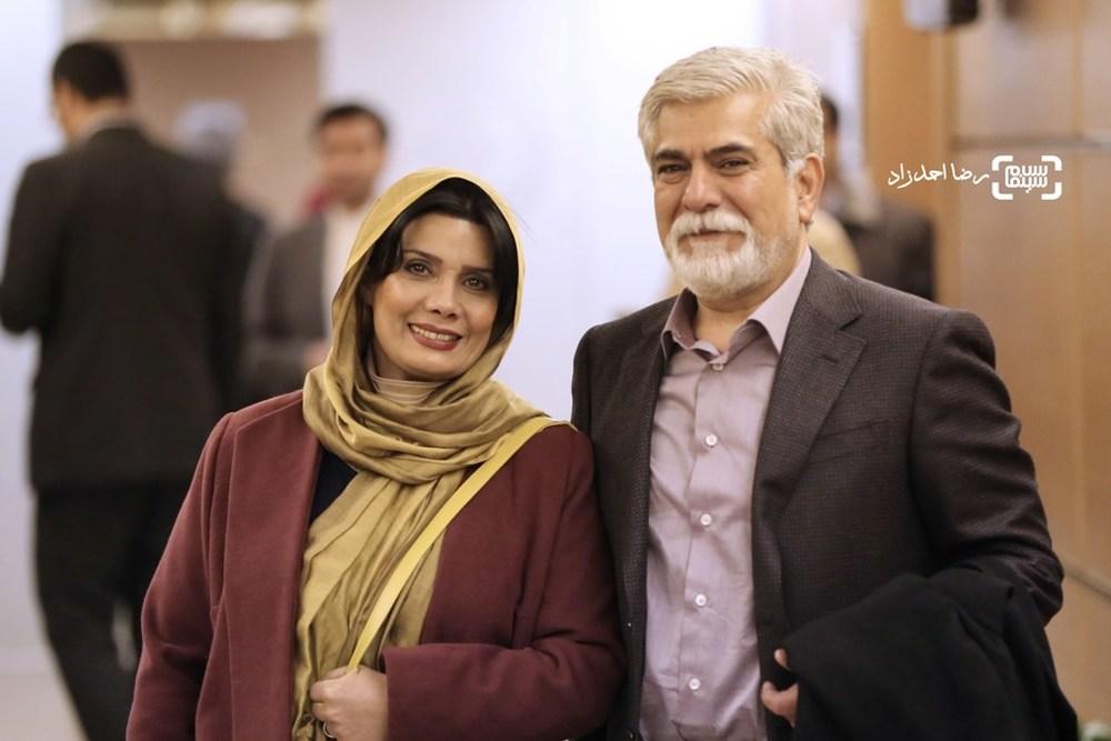 عاطفه رضوی و حسین پاکدل در اکران فیلم «پشت دیوار سکوت» در سی و پنجمین جشنواره فیلم فجر