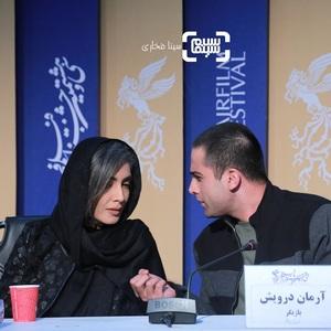 آرمان درویش و لیلا زارع در نشست خبری فیلم «پسرکشی» در سی و هشتمین جشنواره فیلم فجر