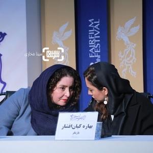 بهاره کیان افشار و ژاله صامتی در نشست خبری فیلم «پسرکشی» در سی و هشتمین جشنواره فیلم فجر