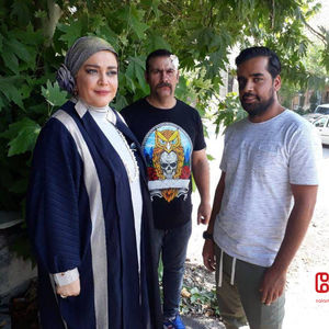 بهاره رهنما و مهدی حدادی در پشت صحنه فیلم «پیشی میشی»