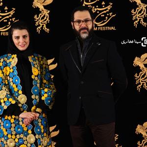 کوروش تهامی و لیلا حاتمی در اکران فیلم «رگ خواب» در سی و پنجمین جشنواره فیلم فجر
