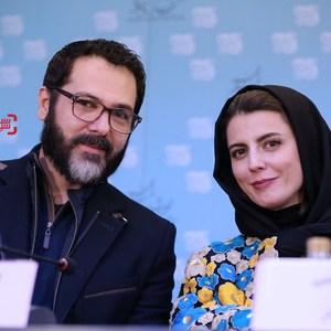 کوروش تهامی و لیلا حاتمی در نشست خبری فیلم «رگ خواب» در سی و پنجمین جشنواره فیلم فجر