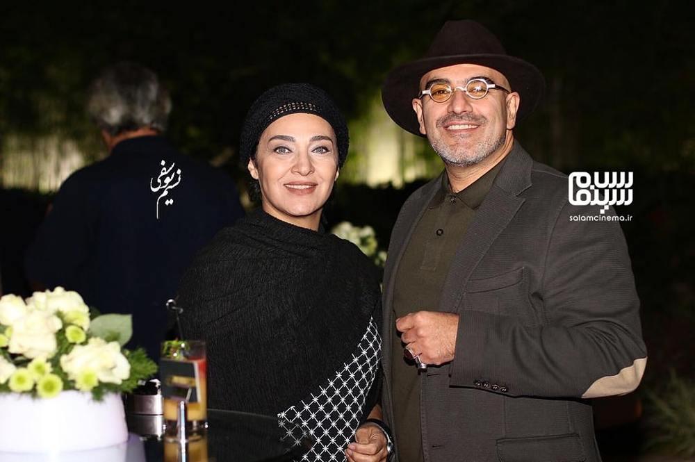 رویا نونهالی و همسرش رامین حیدری فاروقی در اکران خصوصی فیلم سینمایی «نیمه شب اتفاق افتاد»