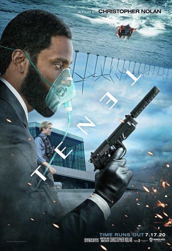 جان دیوید واشینگتن در پوستر فیلم سینمایی «تنت» (Tenet) به کارگردانی کریستوفر نولان