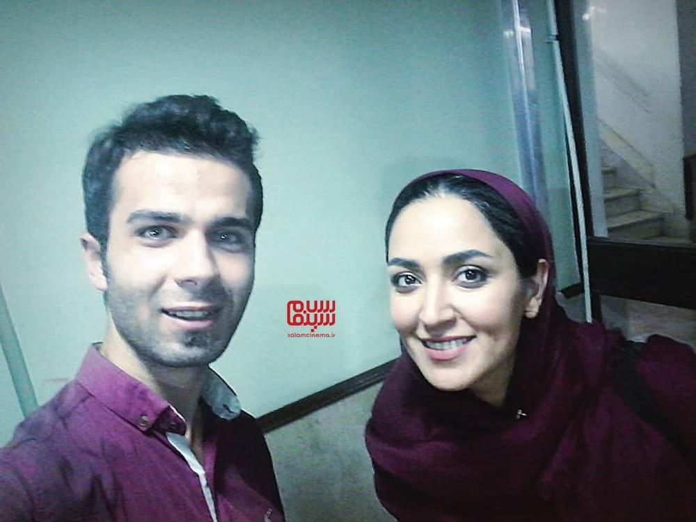 فریبا طالبی و محمد حامی در پشت صحنه سریال «دخترم نرگس»