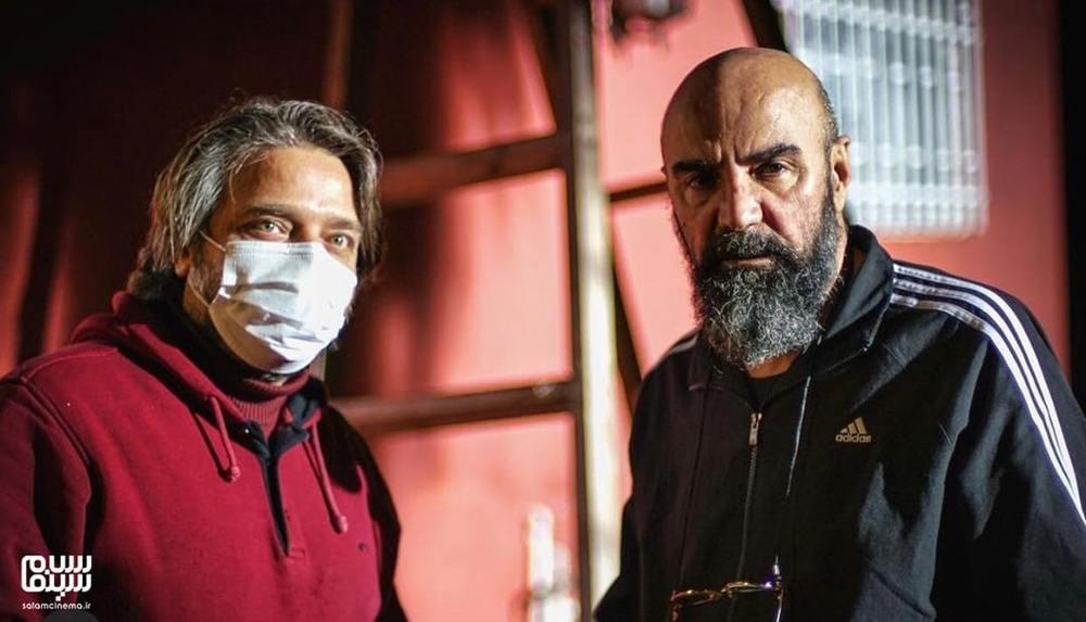 علیرضا نجف زاده و مهران مهام در پشت صحنه سریال «بوتیمار»