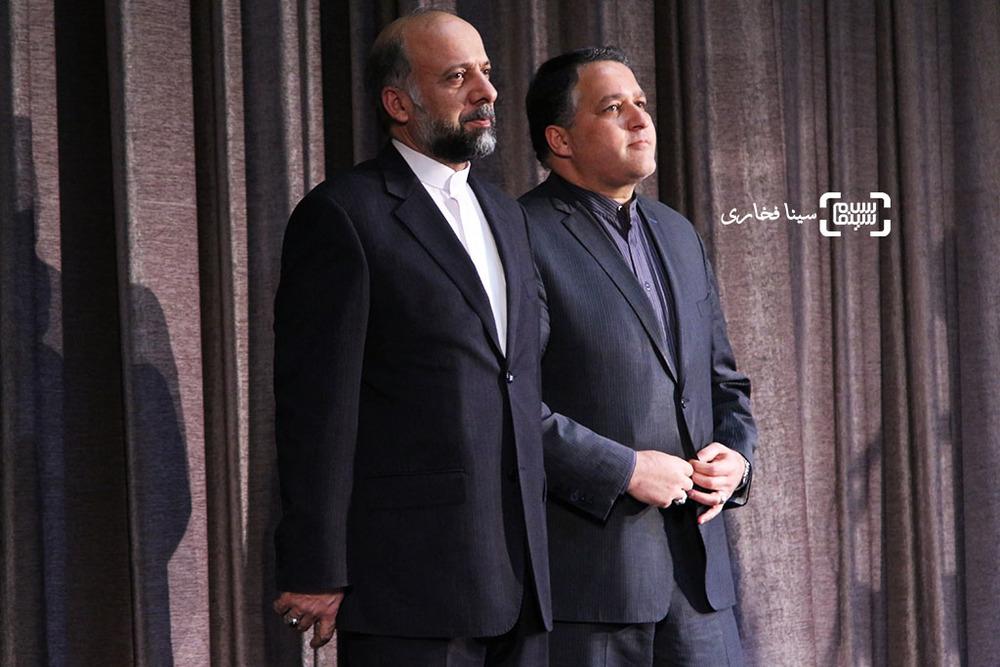 محمدمهدی حیدریان و علیرضا تابش در اکران خصوصی فیلم «ویلایی ها»