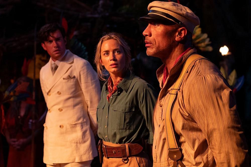 دواین جانسون، امیلی بلانت و جک وایتهال در نمایی از فیلم «جنگل کروز» (Jungle Cruise)