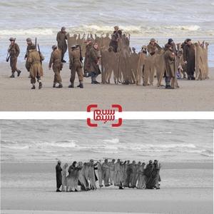 تصویری واقعی از ساحل دانکرک و تصویری از فیلم سینمایی «دانکرک»(Dunkirk)