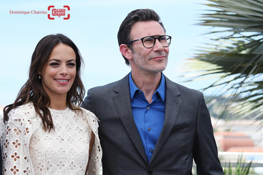 برنیس بژو و همسرش میشل آزاناویسوس در فتوکال فیلم «نیرومند»(Redoubtable) در جشنواره کن2017