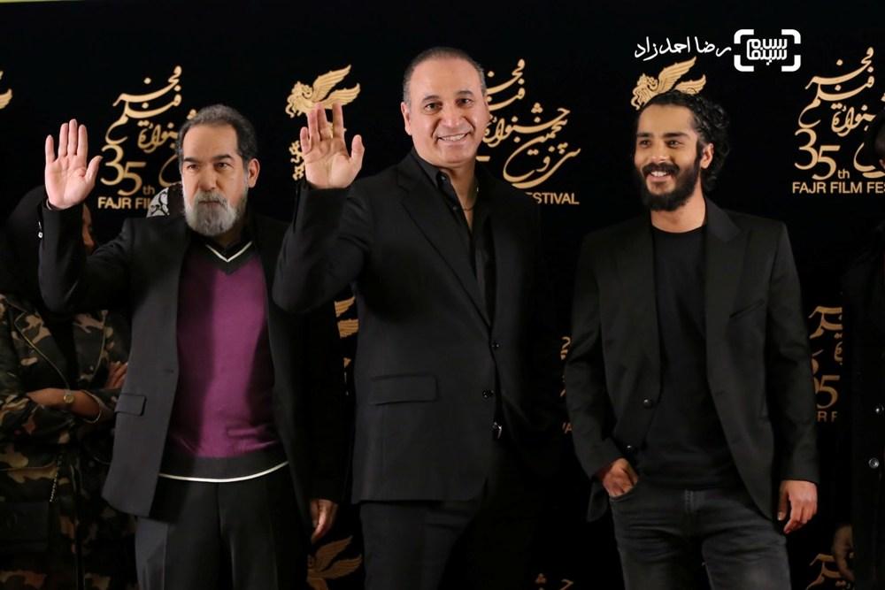 ساعد سهیلی، حمید فرخ نژاد و سعید سهیلی در اکران فیلم «گشت 2» در سی و پنجمین جشنواره فیلم فجر