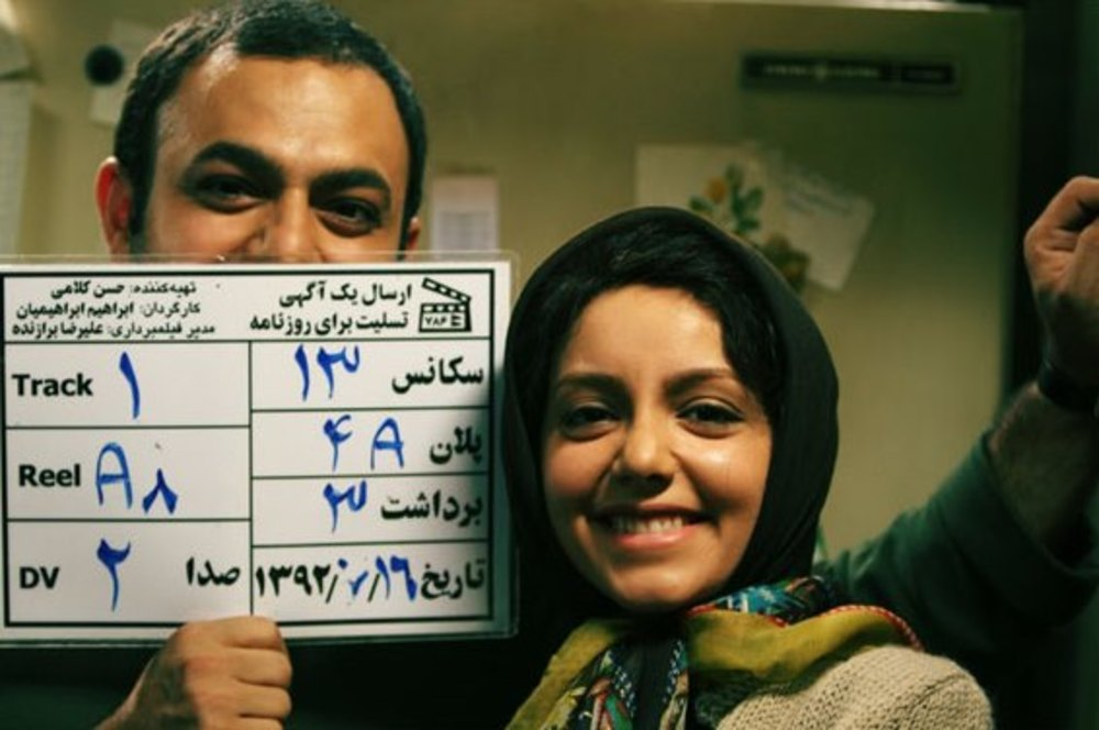 صابر ابر و نازنین بیاتی در پشت صحنه فیلم ارسال یک آگهی تسلیت برای روزنامه