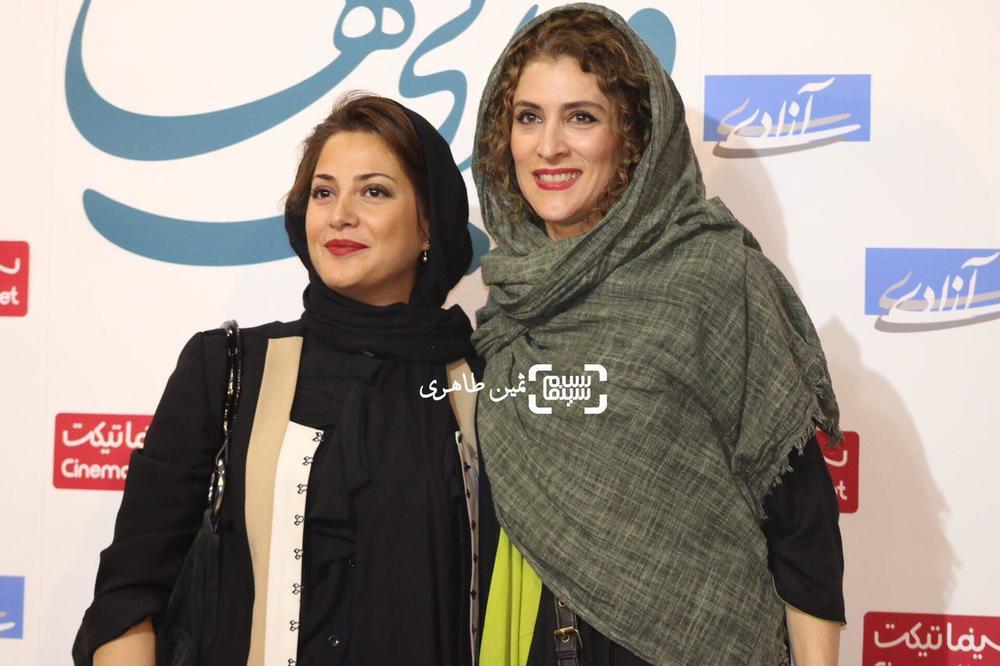 طناز طباطبایی و ویشکا آسایش در اکران مردمی فیلم «ویلایی ها» در سینما آزادی