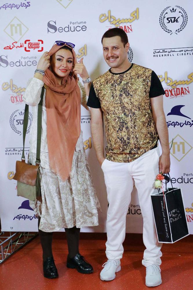 جواد عزتی و همسرش مه لقا باقری در اکران خصوصی فیلم «اکسیدان»