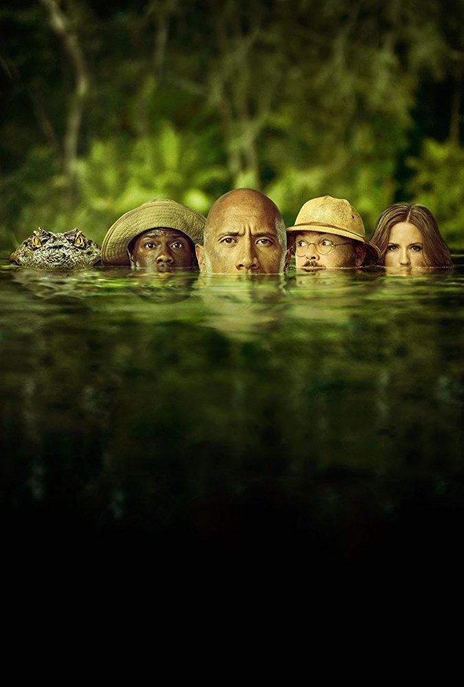"""نمایی از فیلم اکشن """"جومانجی: به جنگل خوش آمدید"""" با بازی دواین جانسون, کوین هارت, جک بلک و کارن گیلان"""