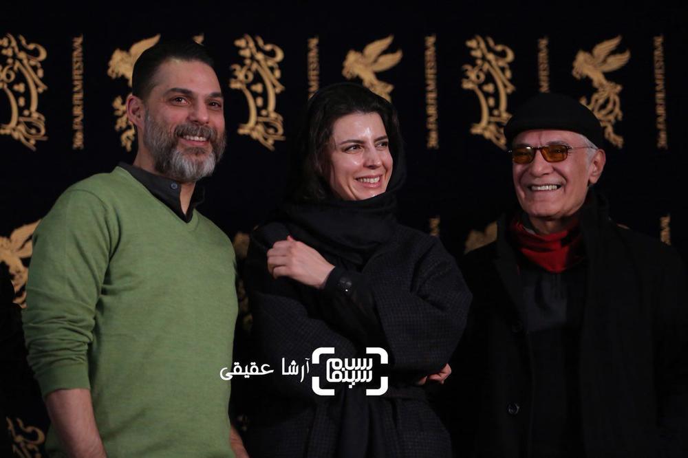 پیمان معادی، محمود کلاری و لیلا حاتمی در اکران فیلم «بمب یک عاشقانه» در جشنواره فیلم فجر 36