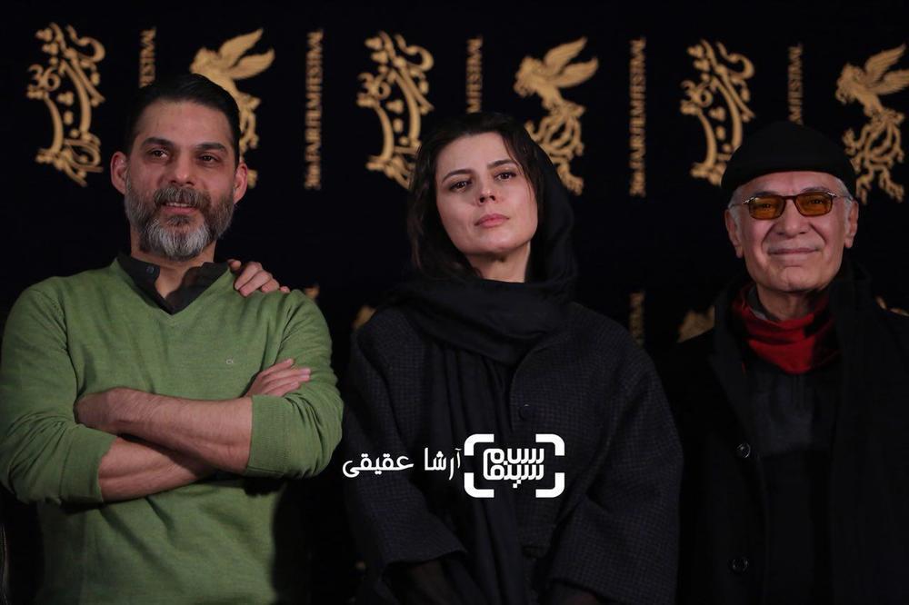 پیمان معادی، محمود کلاری و لیلا حاتمی در اکران «بمب یک عاشقانه» در جشنواره فیلم فجر 36