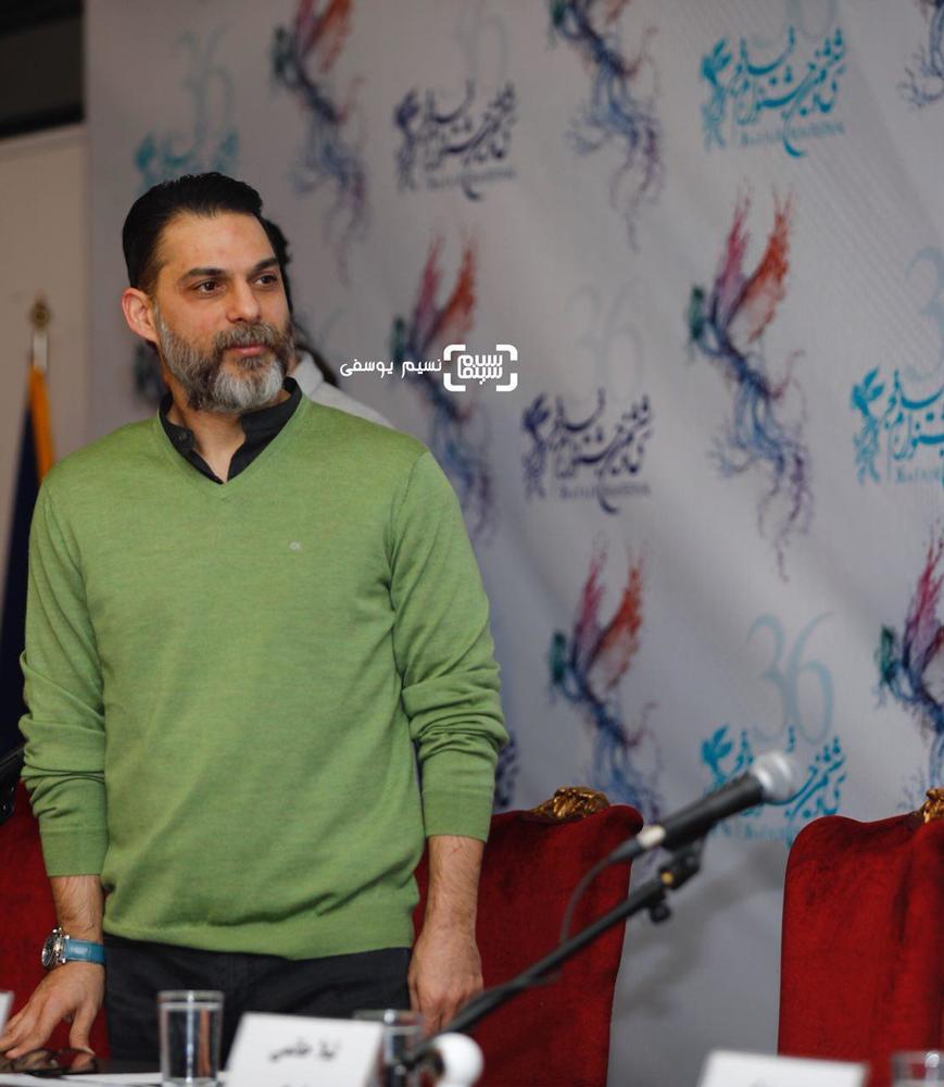 پیمان معادی در نشست خبری فیلم «بمب یک عاشقانه» در جشنواره فیلم فجر 36