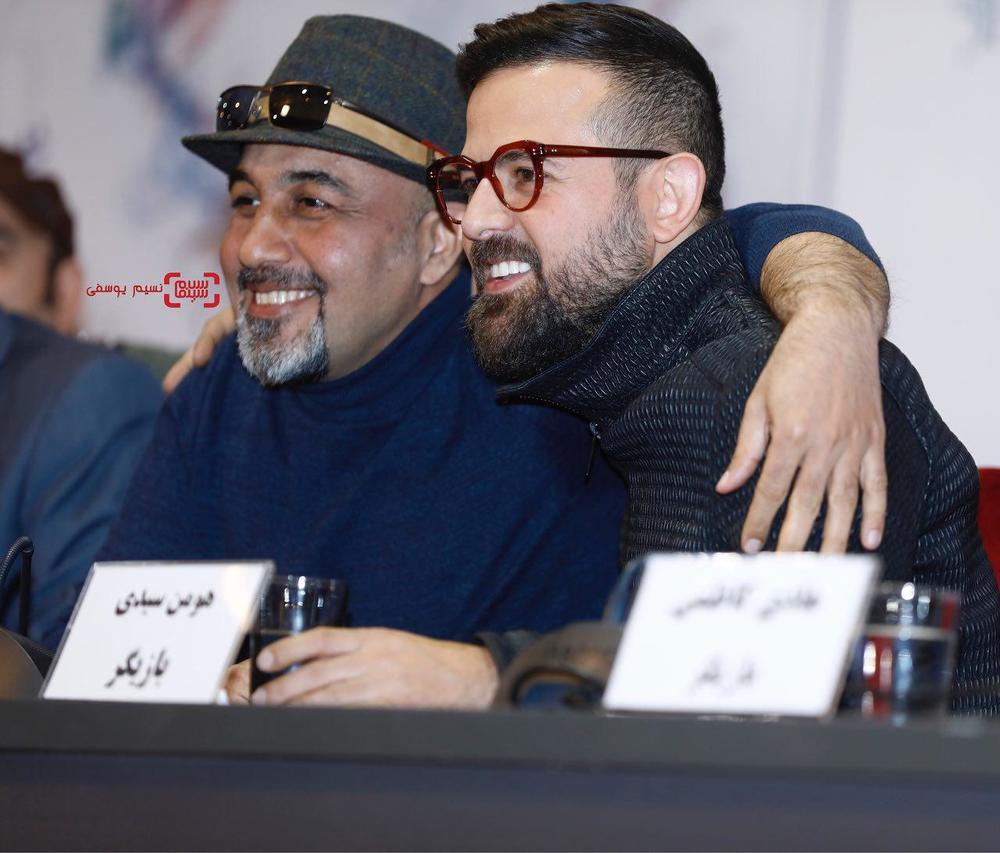 هومن سیدی و رضا عطاران در نشست خبری فیلم «مصادره» در کاخ رسانه سی و ششمین جشنواره فیلم فجر