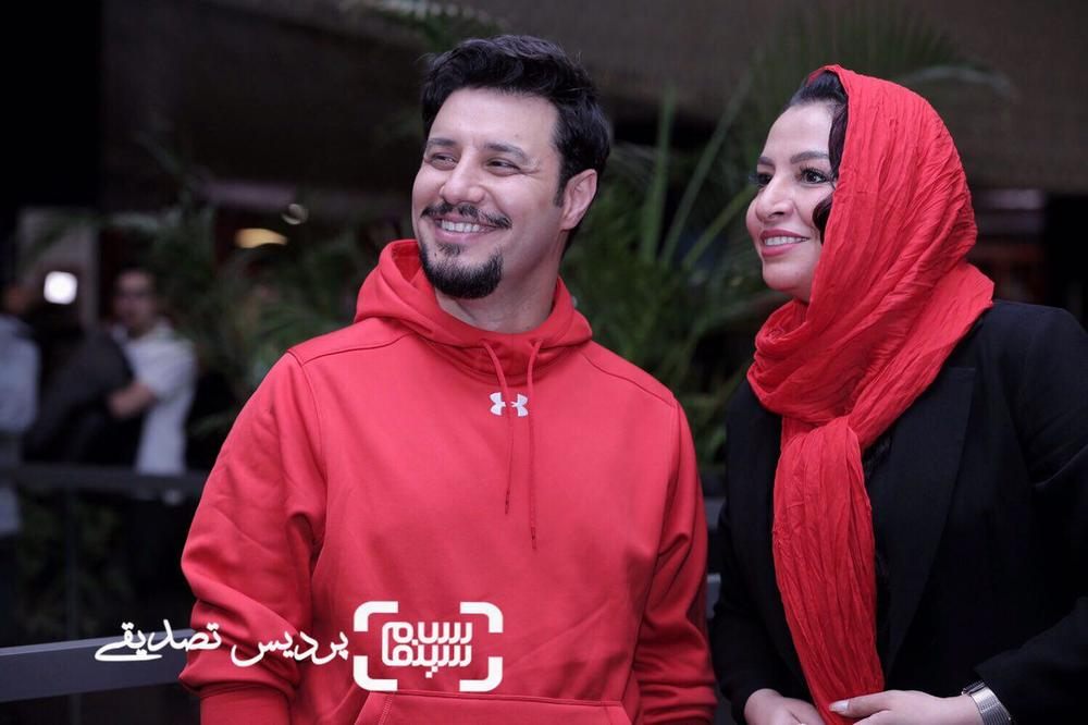 جواد عزتی و همسرش مه لقا باقری در اکران فیلم «تنگه ابوقریب» در جشنواره جهانی فیلم فجر