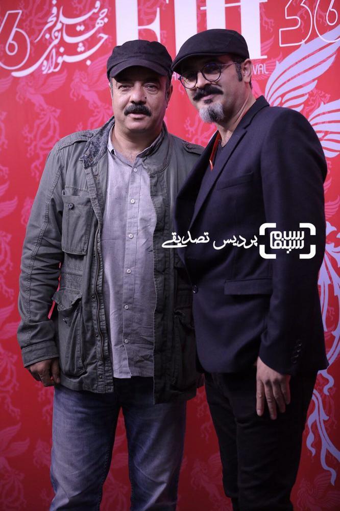 سعید آقاخانی و رحیم طوفان در اکران فیلم «یک کیلو و بیست و یک گرم» در جشنواره جهانی فیلم فجر