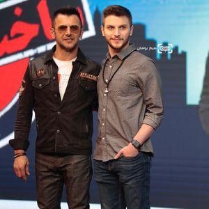 امین حیایی و پسرش دارا حیایی در جشن سریال «ساخت ایران۲»