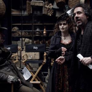 هلنا بونهام کارتر و تیم برتون در فیلم سویینی تاد آرایشگر شیطانی خیابان فلیت