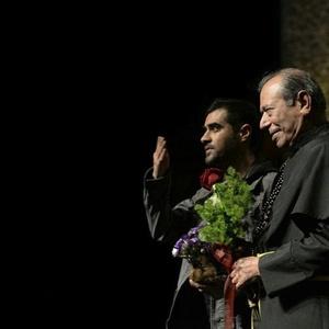 علی نصیریان و شهاب حسینی در نمایی از تئاتر «اعتراف»