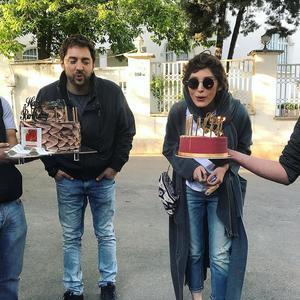تولد بهرام رادان و فرشته حسینی در پشت صحنه فیلم «سونامی»