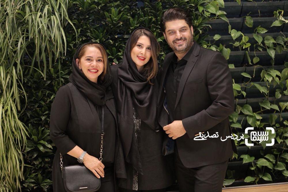 مستانه مهاجر، سام درخشانی و همسرش در اکران خصوصی فیلم «دشمن زن»