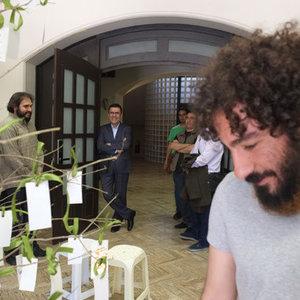 نوید محمدزاده در پشت صحنه فیلم «لانتوری» با حضور رییس سازمان سینمایی