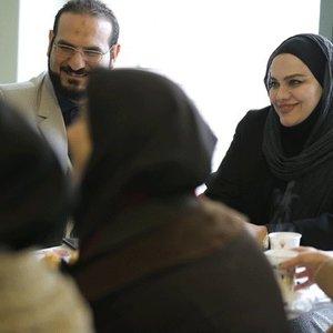 نرگس آبیار و محمد حسین قاسمی در پشت صحنه فیلم «آبجی»