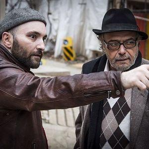اکتای براهنی و اکبر زنجان پور در پشت صحنه فیلم «پل خواب»