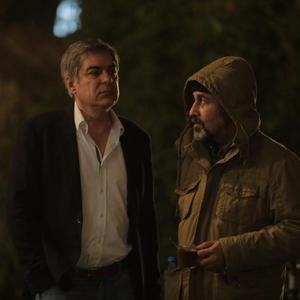 رضا عطاران و علی سرتیپی در پشت صحنه فیلم «دراکولا»